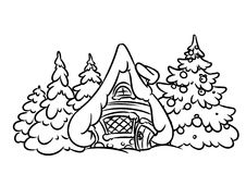 Christmas snow house Illustration contour Stock Image