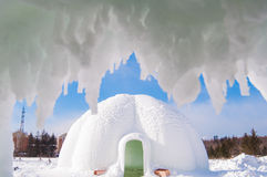 Christmas snow house. House to celebrate Christmas in the snow royalty free stock photography