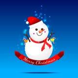 Christmas snow man on the dark blue background Royalty Free Stock Image