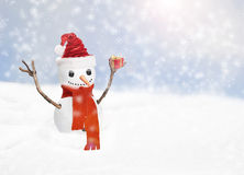 Christmas snow man with gift. Christmas snow man with santa hat and a present royalty free stock photos