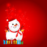 Christmas snow man on the red background Stock Photos