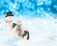 Christmas snow men scene royalty free stock photos