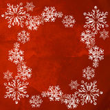Christmas snow on red background Royalty Free Stock Images