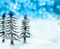 Christmas snow scene. Festive Christmas trees and snow scene Royalty Free Stock Images