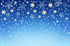 Christmas snow sky background with white and golden snowflakes. Christmas snow sky background with white and golden falling snowflakes. Abstract blue Winter Royalty Free Stock Photo