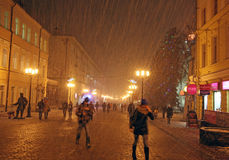 Christmas snow storm at street Bolshaya Porkrovskaya Nizhny Novg Royalty Free Stock Photos