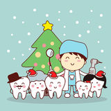 Christmas and snow with tooth. Christmas and snow with cute cartoon tooth and dentist Royalty Free Stock Photos
