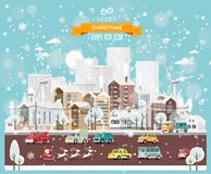 Christmas snow town with city roads, cars and cute houses. Happy New Year vector template in modern flat design. royalty free illustration
