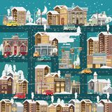 Christmas detailed snow night town with city roads, cars and cute houses. Happy New Year vector template in modern flat design. stock illustration