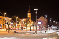Christmas snow on town street Royalty Free Stock Image