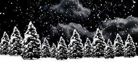 Christmas Snow with tree stock footage