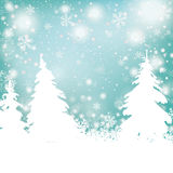 Christmas Snow Winter Background Fir Trees. Snowflakes with white fir trees Royalty Free Stock Photography