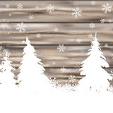 Christmas Snow Winter Worn Wood Fir Trees. Snowflakes with white fir trees Stock Image