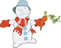 Christmas Snowball and a carrot. Cartoon Stock Image