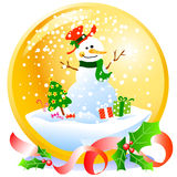 Christmas snowball with snowman. Golden snowball with a small snowman inside. Vector illustration Royalty Free Stock Images