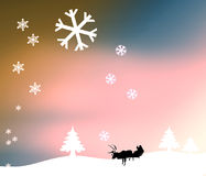Christmas Snowfall. Snowflakes falling on a white christmas scene of pine trees, a silhouette of a Santa sleigh and reindeer, and multicolored sky stock illustration