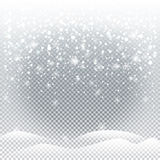 Christmas snowfall. Snowfall, falling snowflakes, snow mountains isolated on transparent background. For Happy New Year and Merry Christmas greeting card Stock Photos