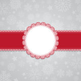 Christmas snowflake background with blank label Stock Images