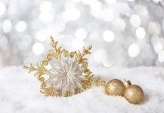 Christmas snowflake on  background with sparkles Royalty Free Stock Image
