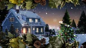 Christmas snowflake border with family dinner