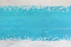 Free Christmas Snowflake Border On Blue Wood Royalty Free Stock Image - 35412156