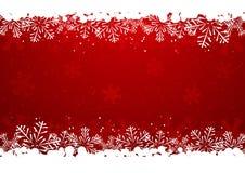 Christmas snowflake border. On red
