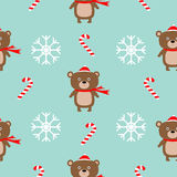 Christmas snowflake candy cane, bear wearing red santa hat, scarf. Seamless Pattern Decoration. Wrapping paper, textile template. Blue background. Flat design Royalty Free Stock Photos