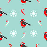 Christmas snowflake candy cane, bullfinch bird wearing red santa hat. Seamless Pattern Decoration. Wrapping paper, textile templat Royalty Free Stock Photos