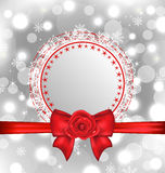 Christmas snowflake card with gift bow and rose Royalty Free Stock Images