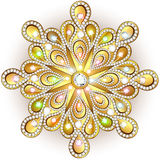Christmas snowflake crystal precious. Beautiful jewelry, medalli Stock Photo