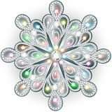 Christmas snowflake crystal precious. Beautiful jewelry, medalli Royalty Free Stock Photos