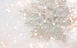 Christmas snowflake decoration. With bokeh lights Stock Photography