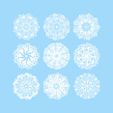 christmas snowflake decoration set  on blue Stock Image