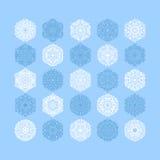 christmas snowflake decoration set  on blue Stock Photos