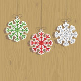 Christmas snowflake decorations Stock Photo