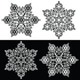 Christmas snowflake design with - embroidery, lace style. Retro snowflake decoration with swirls in black and white royalty free illustration