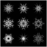 Christmas snowflake, frozen flake silhouette icon, symbol, design. Winter, crystal vector illustration  on the black backg. Round Stock Photography