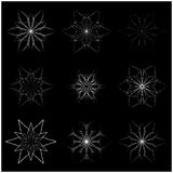 Christmas snowflake, frozen flake silhouette icon, symbol, design. Winter, crystal vector illustration  on the black background Stock Photo