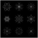 Christmas snowflake, frozen flake silhouette icon, symbol, design. Winter, crystal vector illustration isolated on the black backg Royalty Free Stock Photo