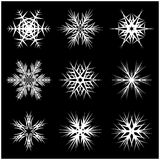 Christmas snowflake, frozen flake silhouette icon, symbol, design. Winter, crystal vector illustration isolated on the black backg. Round Stock Photo