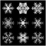 Christmas snowflake, frozen flake silhouette icon, symbol, design. Winter, crystal vector illustration isolated on the black backg. Round Royalty Free Stock Photo