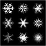 Christmas snowflake, frozen flake silhouette icon, symbol, design. Winter, crystal vector illustration isolated on the black backg. Round Royalty Free Stock Image