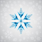 Christmas snowflake of geometric shapes. Sign of the blue snowflake. New Year, Christmas card illustration. Holiday design. Royalty Free Stock Image