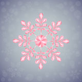 Christmas snowflake of geometric shapes. Sign of the pink snowflake. Can be used as Christmas, New Year card, background, print for clothes, etc. On the silver Stock Photography