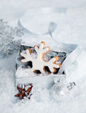 Christmas snowflake in a gift box Royalty Free Stock Photos