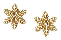Christmas snowflake gingerbread cookies. Gingerbread snowflake cookies isolated on white background Royalty Free Stock Images