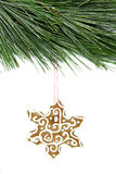 Christmas snowflake gingerbread and fir tree on white Royalty Free Stock Photography