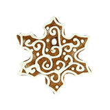 Christmas snowflake gingerbread on white Stock Images