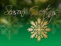 Free Christmas Snowflake Gold Ornament With Season`s Greetings Message Stock Photo - 133634550