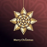Christmas snowflake. Gold Star. Congratulations on a Holidays. Greeting card. Celebratory bright background for Merry Christmas and New Year. Greeting card Stock Photo